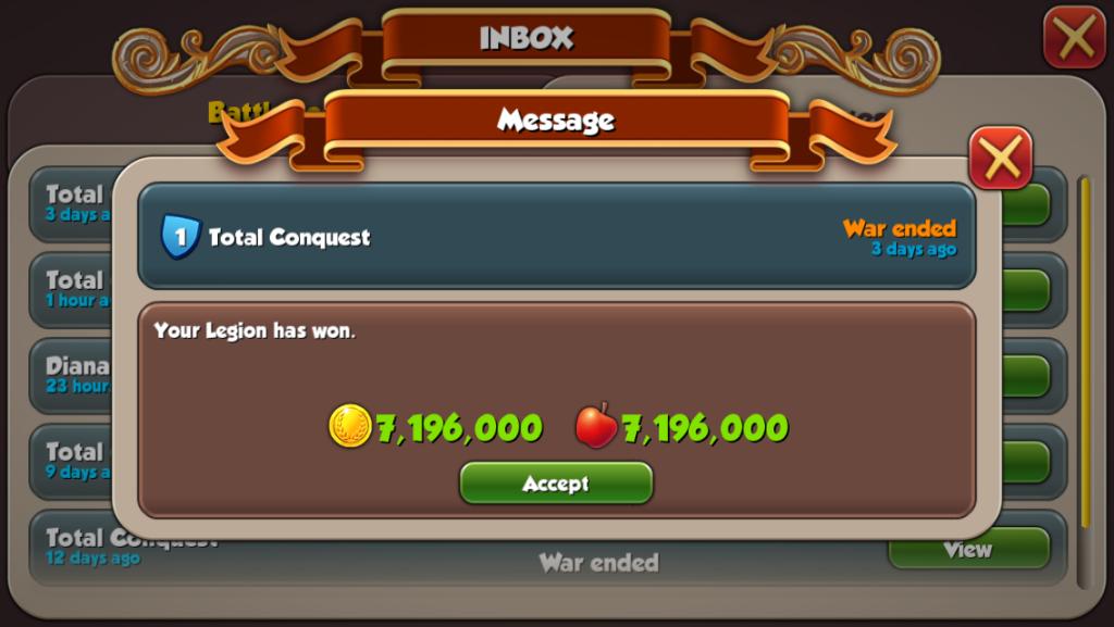 Total Conquest guild war reward